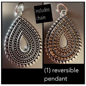 "Reversible silver plated pendant with 23.25"" chain"